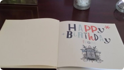 Inside first page of Tom's birthday book(photo Cheryl Anderson)